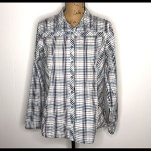 Columbia Woman's Button-Up Shirt-Plaid L/S-Size L